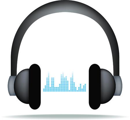 soundwave: illustration of modern headphones with soundwave pattern Illustration