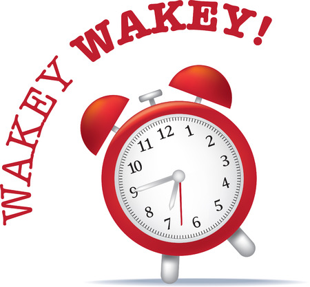 illustration of a alarm clock with wake up text Vector Illustration