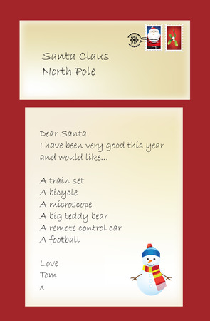 Letter to father chrisrtmas or santa from a little boy, illustration Vector