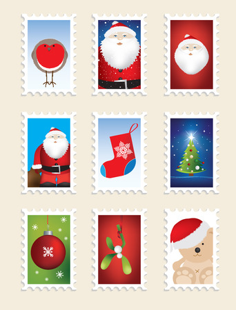 set of christmas stamps, nine different designs Stock Vector - 6075660