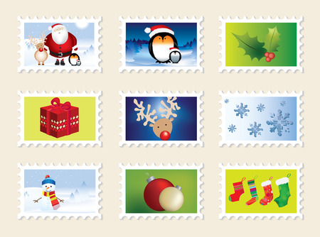 set of christmas stamps, nine different designs Stock Vector - 6075661