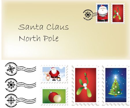 Illustration of christmas santa letter and stamps and postage marks Vector