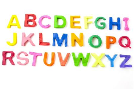 modeling clay: alphabet letters from children modeling clay Stock Photo