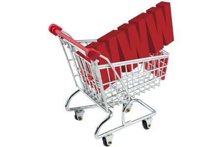internet www shopping trolley isolated on white background Stock Photo - 6159780