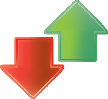 emboss: vector illustration of red and green arrows