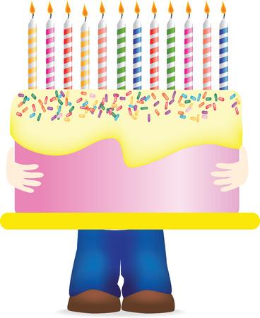 大きな誕生日ケーキを運んで子供のベクトル イラスト 写真素材 - 6192202