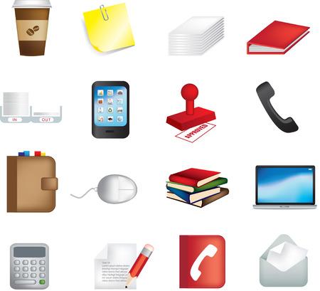 articulos oficina: ilustraci�n vectorial de iconos de los elementos de Oficina de negocios