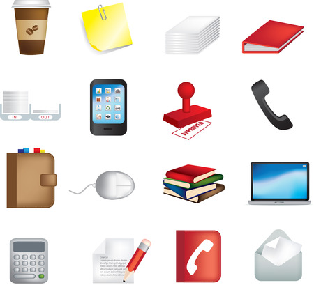 contacting: vector illustration of business office items icons