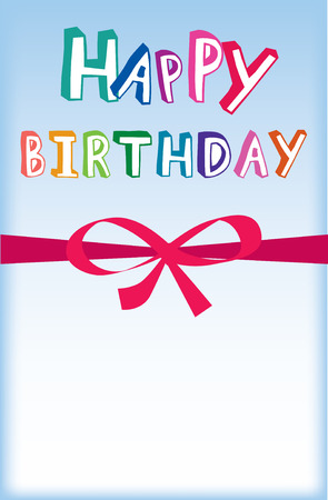 illustration of a modern happy birthday card with bow