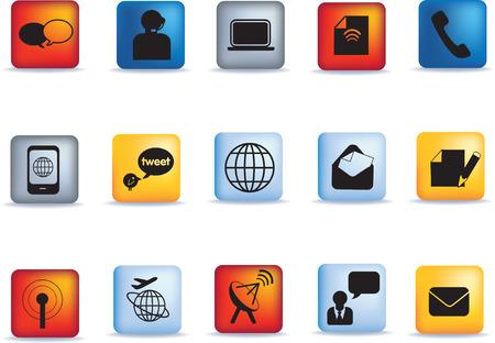 ornage: Set of vector communication icon button set Illustration