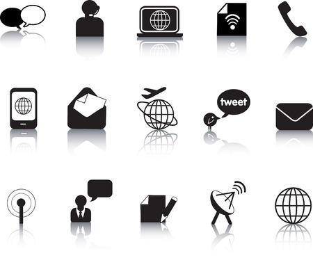 Set of vector communication icon button silhouettes Stock Vector - 6192192