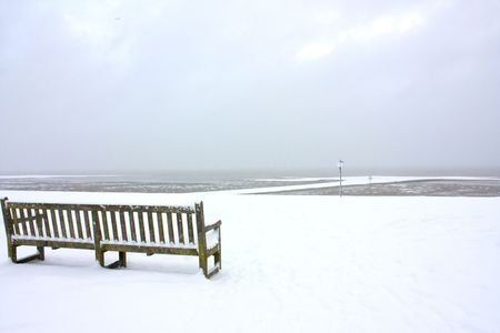 mersea: bench in the snow