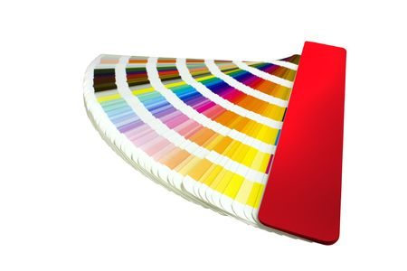 array: coloured swatches book open showing an array of rainbow colours