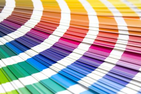 coloured swatches book open showing an array of rainbow colours Stock Photo - 6258204