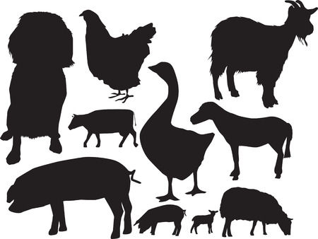 illustration of a selection of farm animals in silhouette Vector
