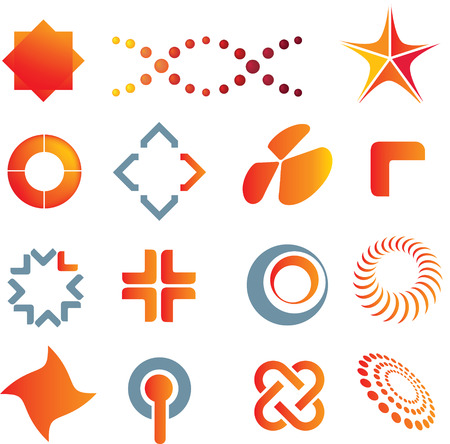 illustrations of colour logo marks and symbols Vector
