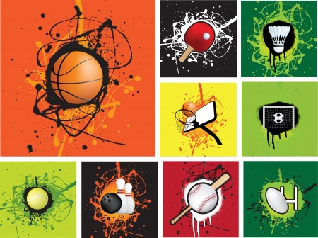 ten pin bowling: illustration of a selection of sports grunge icons Illustration