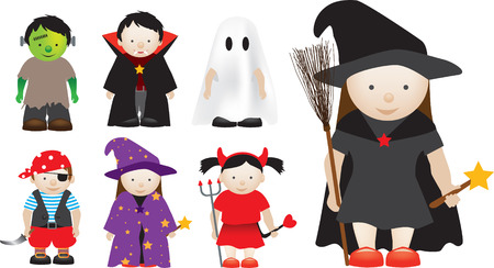 Selection of halloween characters as illustrations Vector