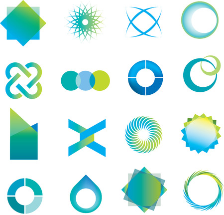 round logo: selection of  logo icons in a modern line style Illustration