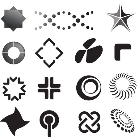 corporate image: selection of  logo icons in a modern line style Illustration