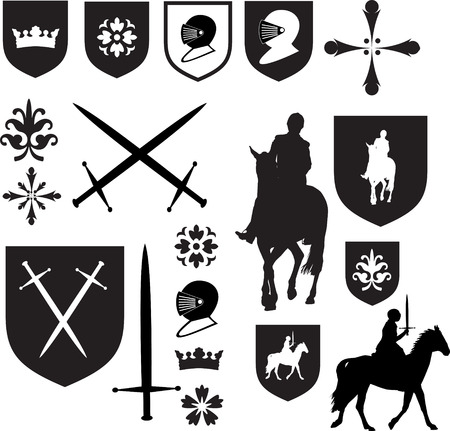 crossed swords: Set of old style medieval icons and symbols