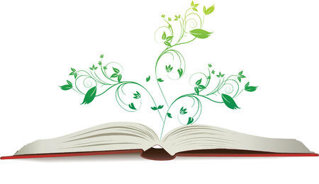 open book as a  illustration with floral growth element Çizim