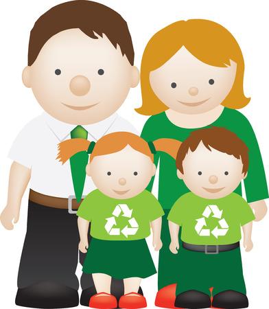 ni�os reciclando: reciclar ecol�gica amistosa familia como una ilustraci�n