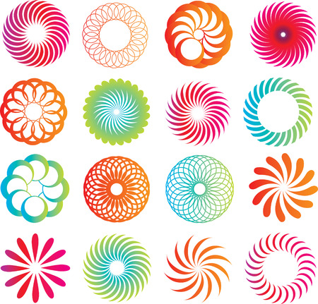 selection of circle logo icons in a modern line style Stock Vector - 6286564