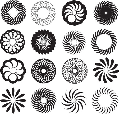 illustration set of logo, symbol or tattoo designs in black Vector