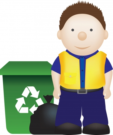 dispose: Illustration of a binman and recycle waste disposal man