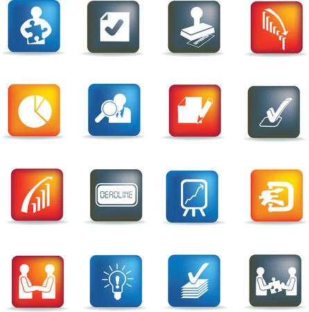 business deals icons set, button silhouette illustrations Vector