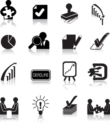 tick the box: business deals icons set, black silhouette illustrations