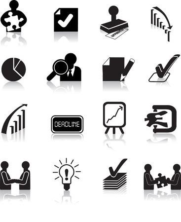tick: entreprise traite des ic�nes ensemble, illustrations de silhouette noire  Illustration