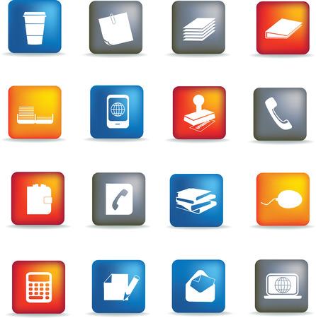 articulos oficina: elementos de Oficina de negocios ilustrados como siluetas negras  Vectores