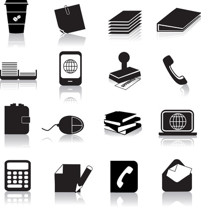 laptop silhouette: business office items illustrated as black silhouettes