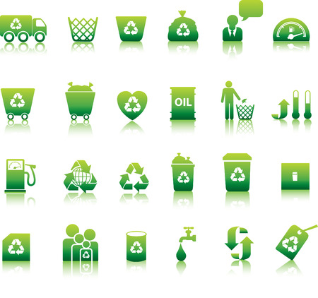 Eco icon set illustrated as green buttons Vector