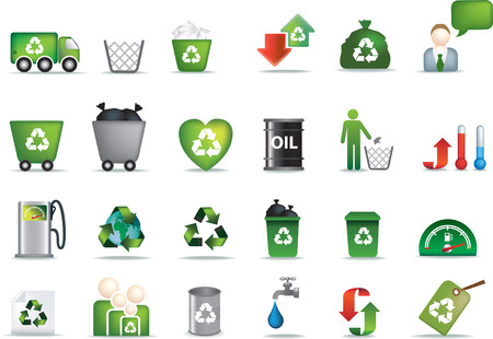 corporate waste: Eco icon set illustrated as green buttons Illustration