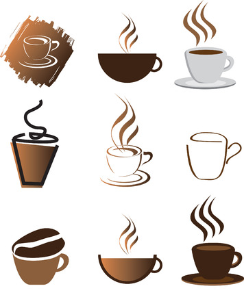 coffee illustration set of icons and coloured symbols Vector