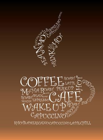 cappucino: Illustratie van woorden froming een warme kop koffie