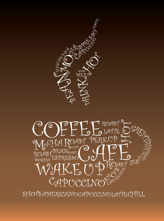 Illustration of words froming a hot cup of coffee Vector