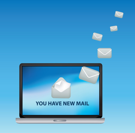 illustration of a laptop receiving incoming email Vektorové ilustrace