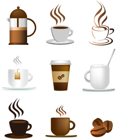 brewing: coffee illustration set of icons and coloured symbols