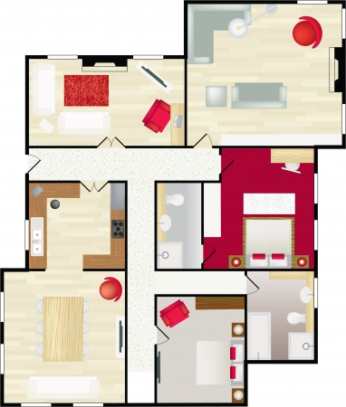 furnishings: Typical floorplan of a house in colour with furnishings