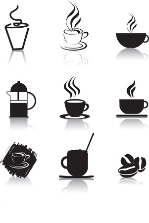 steaming coffee: coffee icons as black silhouettes as illustration