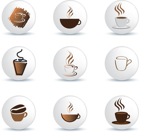 steaming: coffee icons on white buttons as illustration Illustration