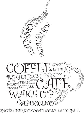 steaming: coffee illustration of words making the cup shape