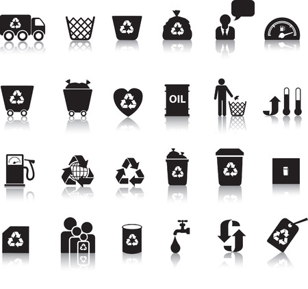 corporate waste: Eco icon set illustrated as black silhouettes with reflection