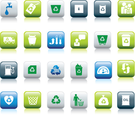 conserve: Eco icon set illustrated as green, blue and white buttons Illustration