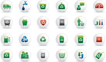Eco icon set illustrated as white buttons Vector