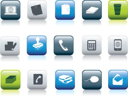 organise: office items icon button collecton illustration set Illustration